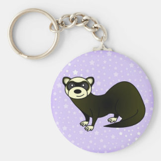 Cute Cartoon Sable Ferret Purple Star Keychain