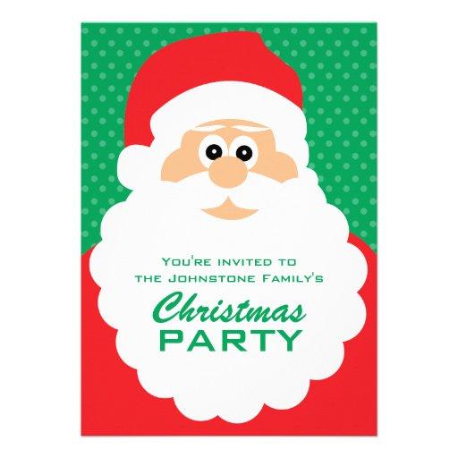 Cute Cartoon Santa Christmas Party Custom Invitations