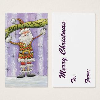 Cute Cartoon Santa Claus, Believe, Merry Christmas Business Card