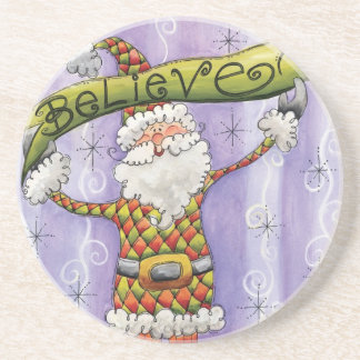 Cute Cartoon Santa Claus, Believe, Merry Christmas Drink Coaster