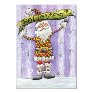 Cute Cartoon Santa Claus, Believe, Merry Christmas 5x7 Paper Invitation Card