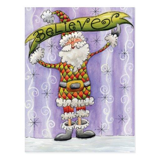 Cute Cartoon Santa Claus, Believe, Merry Christmas Postcard