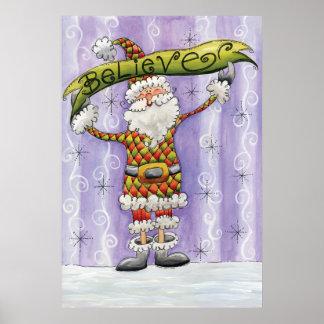 Cute Cartoon Santa Claus, Believe, Merry Christmas Poster