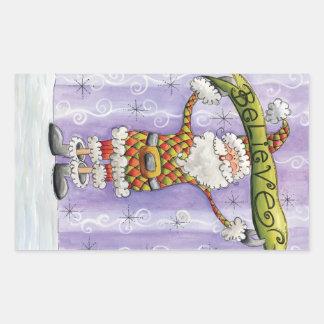 Cute Cartoon Santa Claus, Believe, Merry Christmas Rectangular Sticker