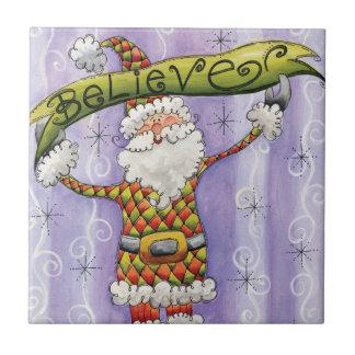 Cute Cartoon Santa Claus, Believe, Merry Christmas Tile