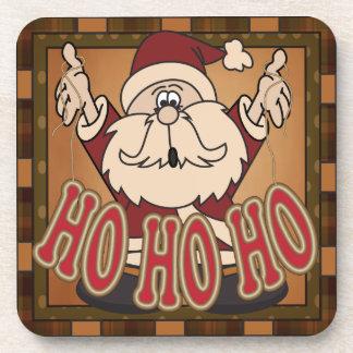 Cute Cartoon Santa Ho Ho Ho | Christmas Drink Coaster