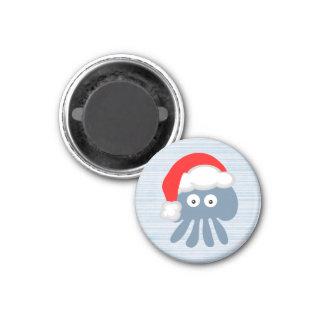 Cute Cartoon Santa Jellyfish 1 Inch Round Magnet