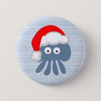 Cute Cartoon Santa Jellyfish Pinback Button