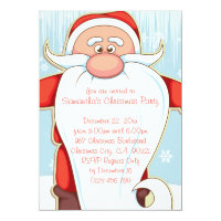 Cute Cartoon Santa with Long Beard Christmas Party 5x7 Paper Invitation Card
