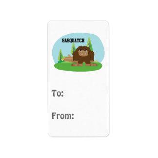 Cute Cartoon Sasquatch Label