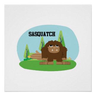 Cute Cartoon Sasquatch Poster
