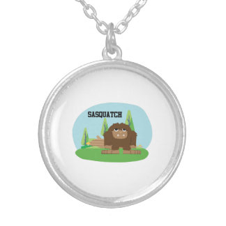 Cute Cartoon Sasquatch Silver Plated Necklace
