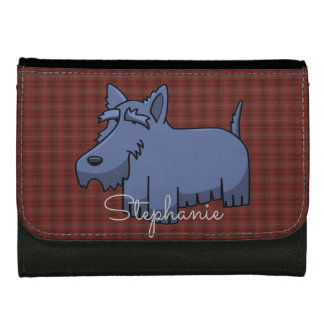 Cute Cartoon Scottie Dog on Red Tartan Wallet