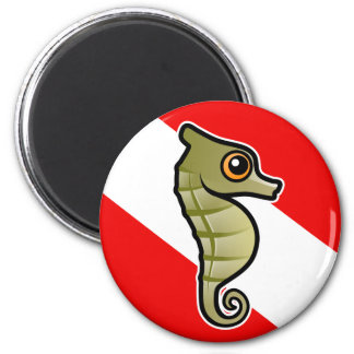 Cute Cartoon Seahorse Dive Flag Magnet