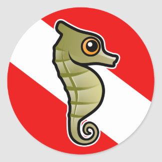 Cute Cartoon Seahorse Dive Flag Classic Round Sticker