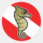 Cute Cartoon Seahorse Dive Flag Stickers
