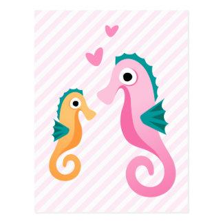 Cute cartoon seahorses on pale pink stripes postcard