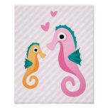 Cute cartoon seahorses on pale pink stripes poster