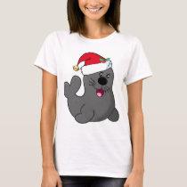 Cute Cartoon Seal Wearing Santa Hat T-Shirt