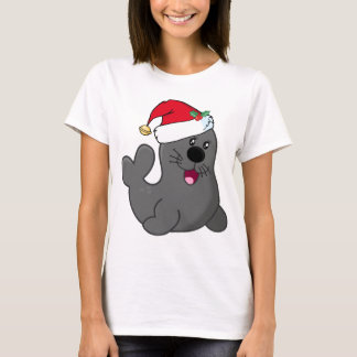 Cute Cartoon Seal Wearing Santa Hat T-Shirt