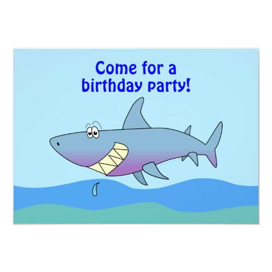 Cute Cartoon Shark Birthday Invitations Template Zazzlecom