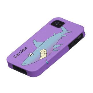 Cute Cartoon Shark Custom Name Customizable iPhone 4 Cases