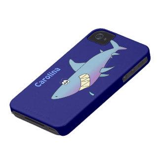 Cute Cartoon Shark Custom Name Customizable Case-Mate iPhone 4 Case