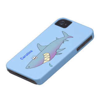 Cute Cartoon Shark Custom Name Customizable iPhone 4 Case-Mate Cases