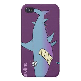 Cute Cartoon Shark Custom Name Customizable Cover For iPhone 4