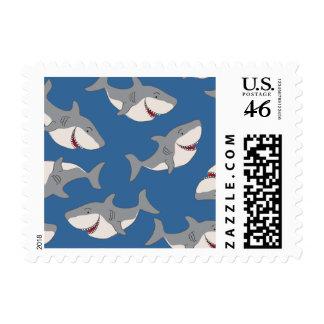 Cute Cartoon Shark Pattern Postage Stamp