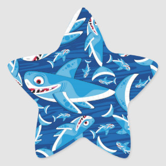 Cute Cartoon Shark Pattern Star Sticker