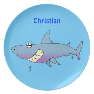 Cute Cartoon Shark Personalized Kids Dinner Plate
