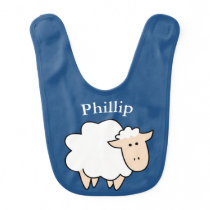 Cute Cartoon Sheep & Baby's Name Bib