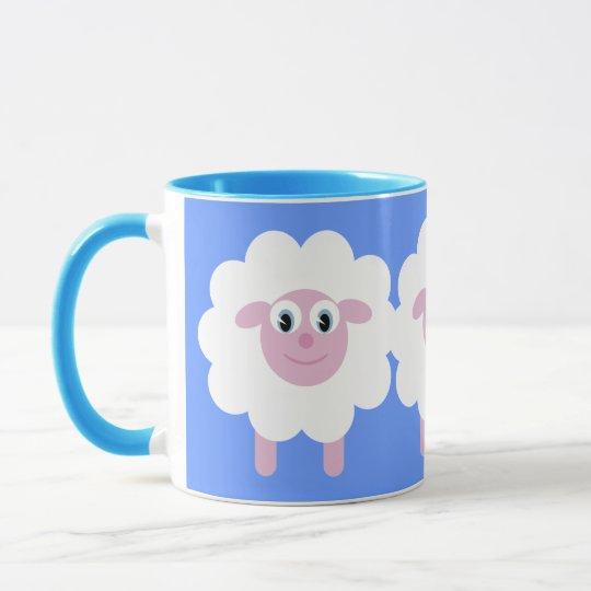 Cute Cartoon Sheep Blue Ringer Mug