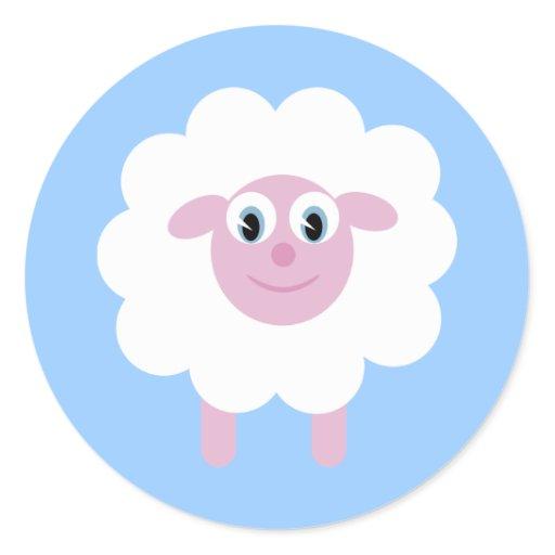 Cute cartoon sheep blue stickers zazzle