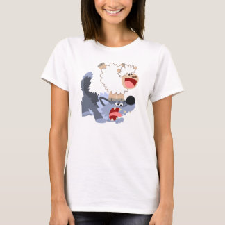 Cute Cartoon Sheep Playing with Wolf Women T-Shirt
