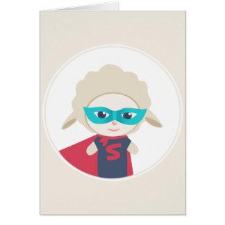 Cute cartoon sheep Super Hero Card