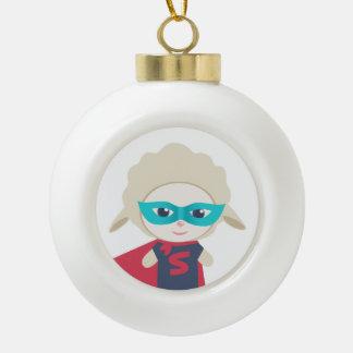 Cute cartoon sheep Super Hero Ceramic Ball Christmas Ornament