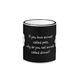 Cute Cartoon Sheep Vegetarian Customizable Black Ringer Coffee Mug