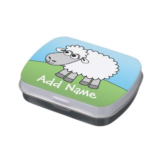 Cute Cartoon Sheep with Custom Name Jelly Belly Candy Tins
