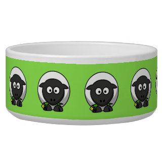 Cute Cartoon Sheep With Green Background Bowl