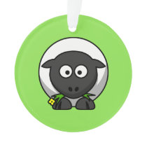 Cute Cartoon Sheep With Green Background Ornament