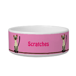 Cute Cartoon Siamese Cat Custom Pink Pets Bowl