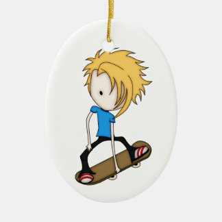 Cute Cartoon Skateboarder Teen Boy Blonde Hair Ceramic Ornament