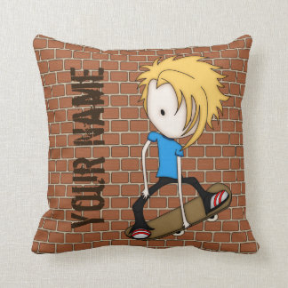 Cute Cartoon Skateboarder Teen Boy Blonde Hair Throw Pillow