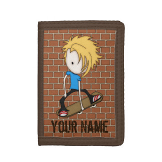 Cute Cartoon Skateboarder Teen Boy Blonde Hair Trifold Wallets