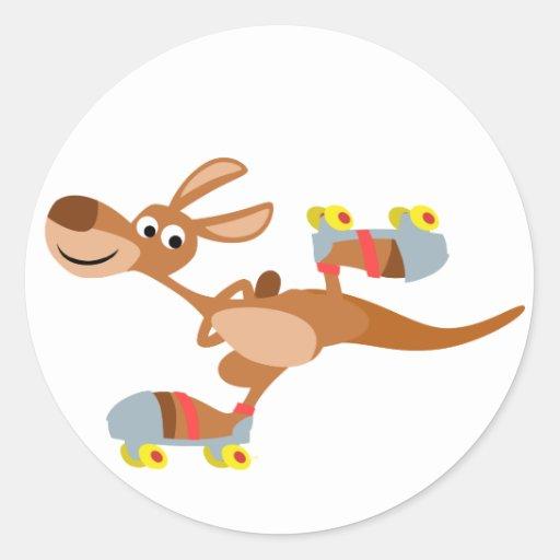 Cute Cartoon Skating Kangaroo Sticker