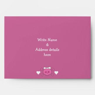 Cute Cartoon Skull Bride Pink Linen Bridal Shower Envelope