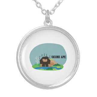 Cute Cartoon Skunk Ape Silver Plated Necklace