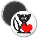 Cute Cartoon Skunk Holding Heart 2 Inch Round Magnet